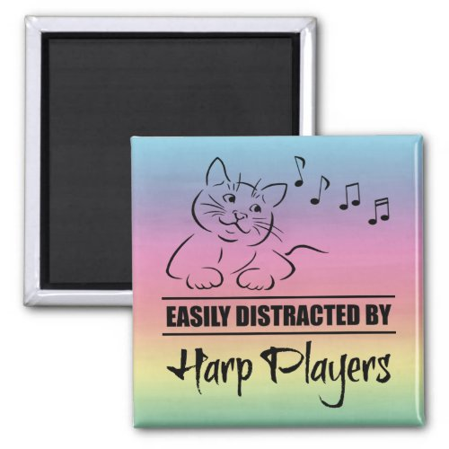 Curious Cat Easily Distracted by Harp Players Music Notes Rainbow 2-inch Square Magnet