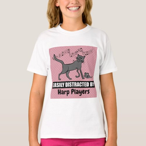 Curious Cat Easily Distracted by Harp Players Music Notes Basic T-Shirt