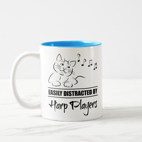 Curious Cat Easily Distracted by Harp Players Music Notes Two-Tone Coffee Mug