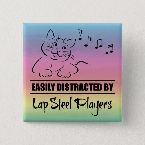Curious Cat Easily Distracted by Lap Steel Players Music Notes Rainbow 2-inch Square Button