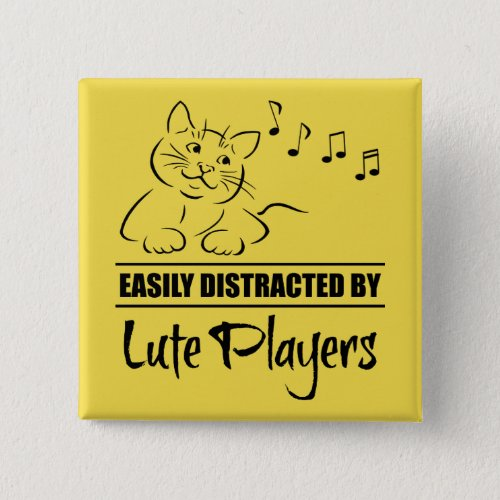 Curious Cat Easily Distracted by Lute Players Music Notes 2-inch Square Button
