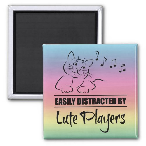 Curious Cat Easily Distracted by Lute Players Music Notes Rainbow 2-inch Square Magnet
