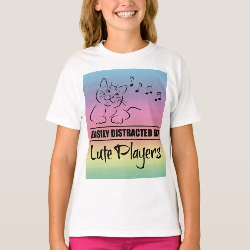 Curious Cat Easily Distracted by Lute Players Music Notes Rainbow Basic T-Shirt
