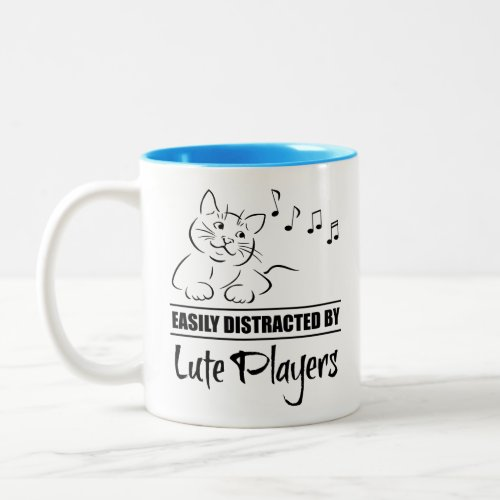 Curious Cat Easily Distracted by Lute Players Music Notes Two-Tone Coffee Mug