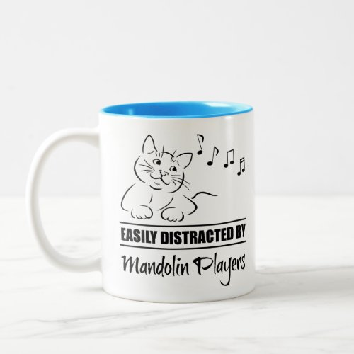 Curious Cat Easily Distracted by Mandolin Players Music Notes Two-Tone Coffee Mug