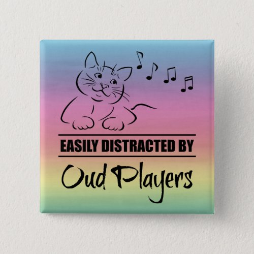 Curious Cat Easily Distracted by Oud Players Music Notes Rainbow 2-inch Square Button