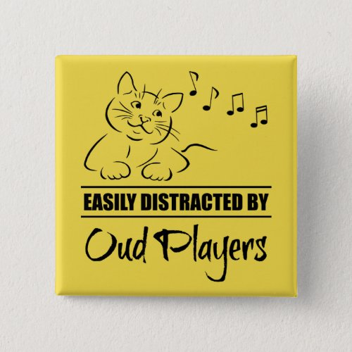 Curious Cat Easily Distracted by Oud Players Music Notes 2-inch Square Button