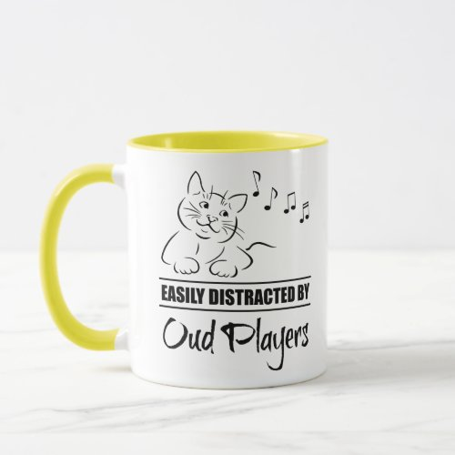 Curious Cartoon Cat Easily Distracted by Oud Players Music Notes Coffee Mug