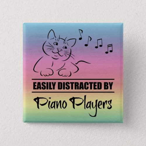 Curious Cat Easily Distracted by Piano Players Music Notes Rainbow 2-inch Square Button