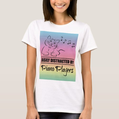 Curious Cat Easily Distracted by Piano Players Music Notes Rainbow Basic T-Shirt