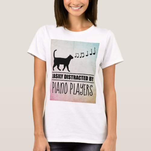 Curious Cat Easily Distracted by Piano Players Music Notes Basic T-Shirt