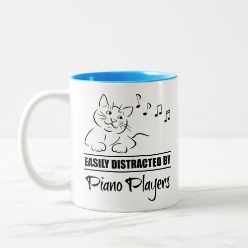 Curious Cat Easily Distracted by Piano Players Music Notes Two-Tone Coffee Mug