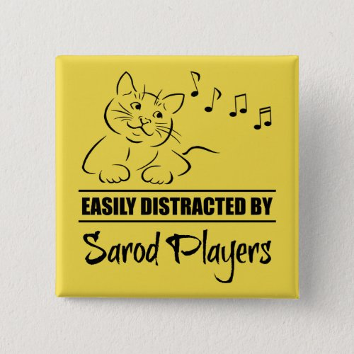 Curious Cat Easily Distracted by Sarod Players Music Notes 2-inch Square Button