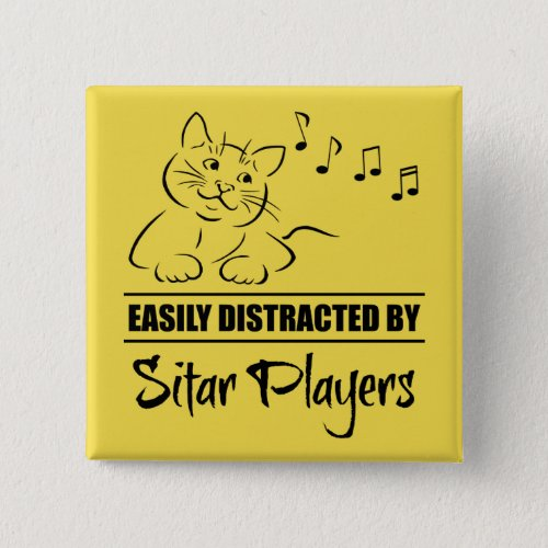 Curious Cat Easily Distracted by Sitar Players Music Notes 2-inch Square Button