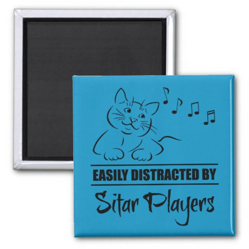 Curious Cat Easily Distracted by Sitar Players Music Notes 2-inch Square Magnet