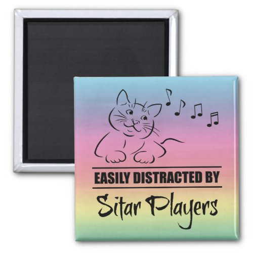 Curious Cat Easily Distracted by Sitar Players Music Notes Rainbow 2-inch Square Magnet