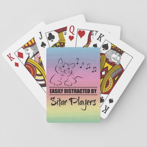 Curious Cat Easily Distracted by Sitar Players Music Notes Rainbow Playing Cards