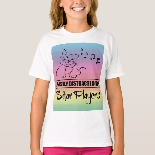 Curious Cat Easily Distracted by Sitar Players Music Notes Rainbow Basic T-Shirt