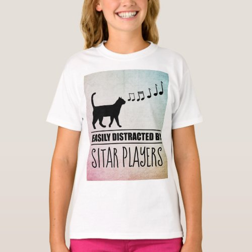Curious Cat Easily Distracted by Sitar Players Music Notes Basic T-Shirt