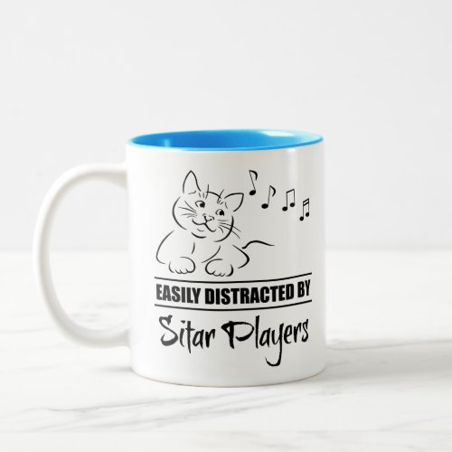 Curious Cat Easily Distracted by Sitar Players Music Notes Two-Tone Coffee Mug