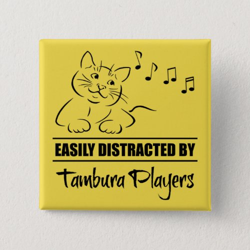 Curious Cat Easily Distracted by Tambura Players Music Notes 2-inch Square Button