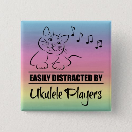 Curious Cat Easily Distracted by Ukulele Players Music Notes Rainbow 2-inch Square Button