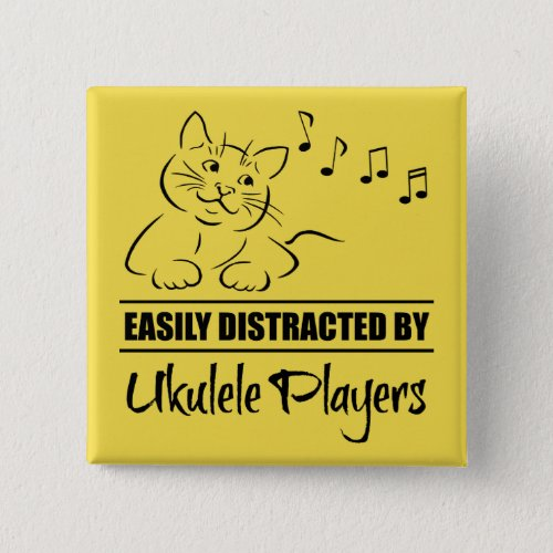 Curious Cat Easily Distracted by Ukulele Players Music Notes 2-inch Square Button