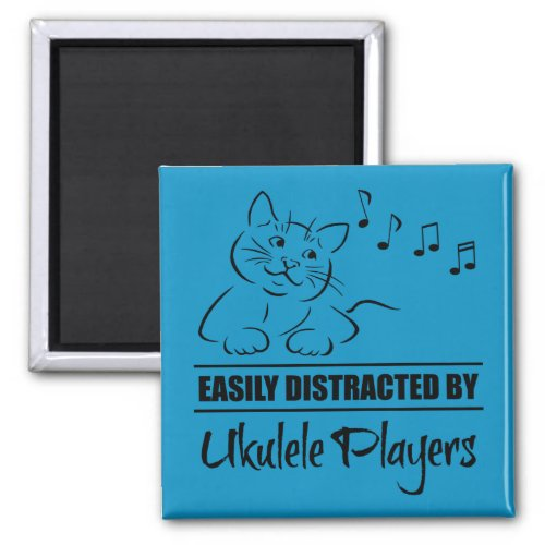 Curious Cat Easily Distracted by Ukulele Players Music Notes 2-inch Square Magnet