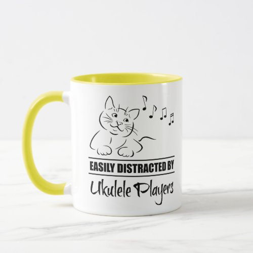 Curious Cartoon Cat Easily Distracted by Ukulele Players Music Notes Coffee Mug
