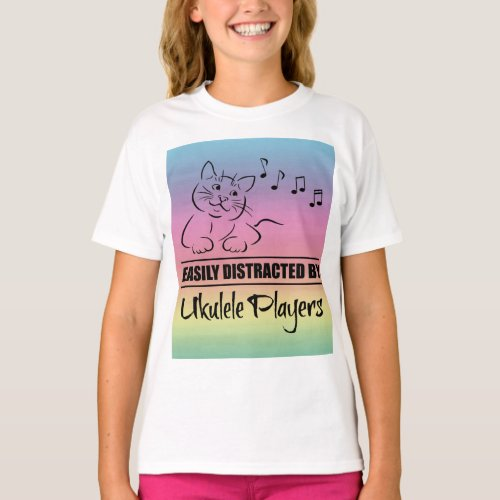 Curious Cat Easily Distracted by Ukulele Players Music Notes Rainbow Basic T-Shirt