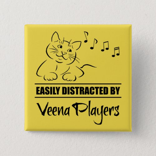 Curious Cat Easily Distracted by Veena Players Music Notes 2-inch Square Button