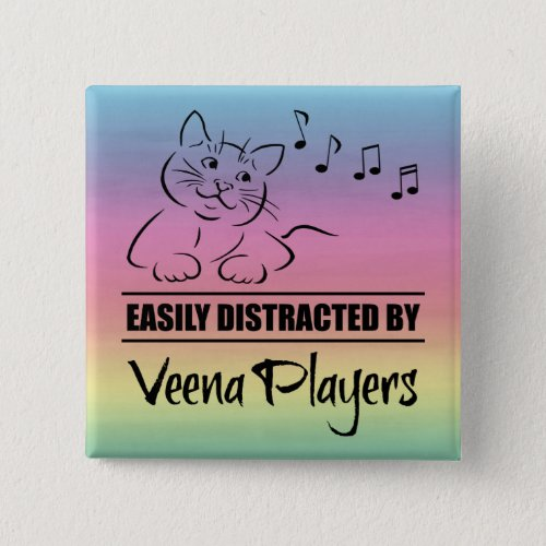 Curious Cat Easily Distracted by Veena Players Music Notes Rainbow 2-inch Square Button