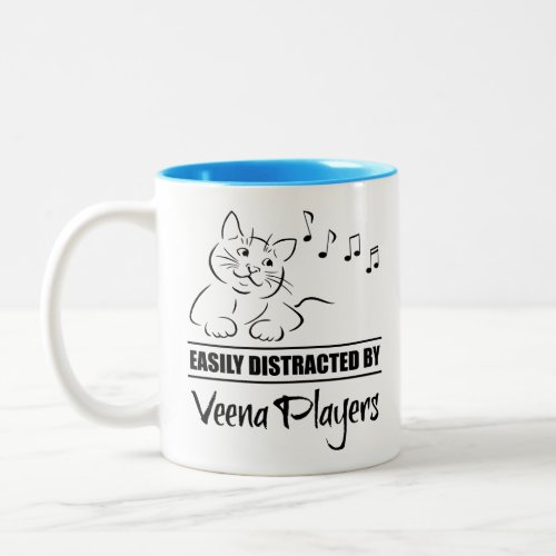 Curious Cat Easily Distracted by Veena Players Music Notes Two-Tone Coffee Mug