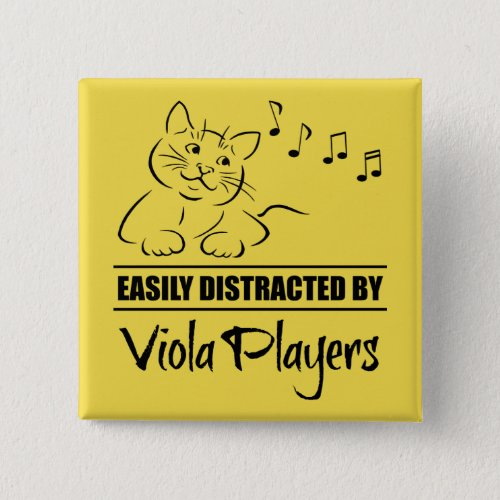 Curious Cat Easily Distracted by Viola Players Music Notes 2-inch Square Button