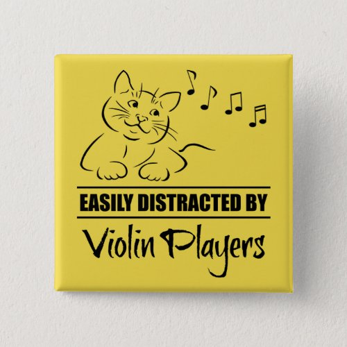 Curious Cat Easily Distracted by Violin Players Music Notes 2-inch Square Button