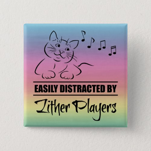 Curious Cat Easily Distracted by Zither Players Music Notes Rainbow 2-inch Square Button