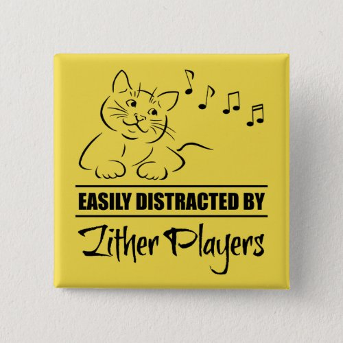 Curious Cat Easily Distracted by Zither Players Music Notes 2-inch Square Button