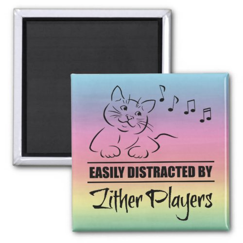 Curious Cat Easily Distracted by Zither Players Music Notes Rainbow 2-inch Square Magnet