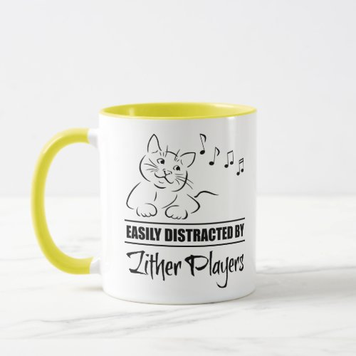 Curious Cartoon Cat Easily Distracted by Zither Players Music Notes Coffee Mug