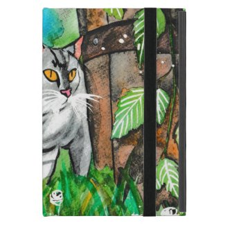 Curious Cat in the Summer Illustration Case For iPad Mini