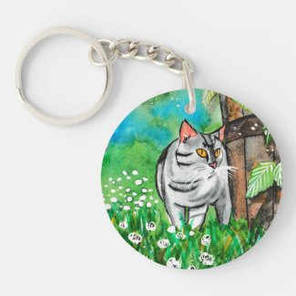 Curious Cat in the Summer Time Keychain