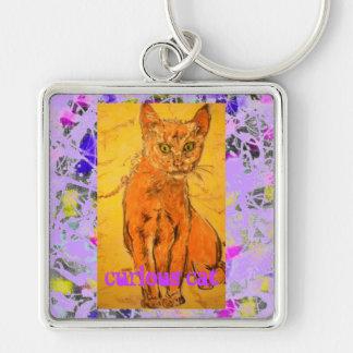 curious cat purple drip slogan keychain