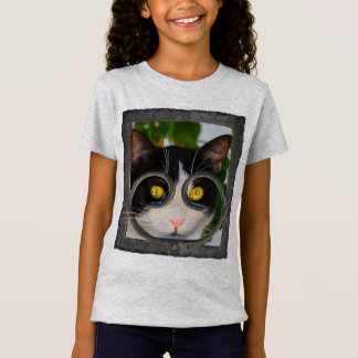 Curious Cat Spectacles Frame Funny Pet Photo  girl T-Shirt