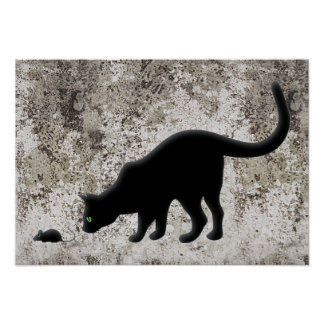 Curious Cat with Mouse Poster