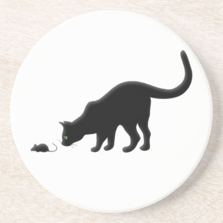 Curious Cat with Mouse Sandstone Coaster