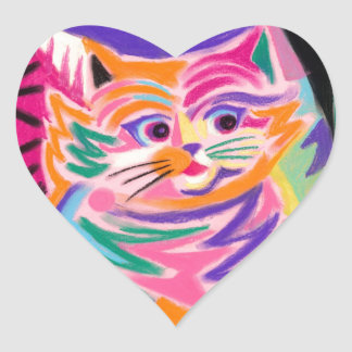 Curious Cheshire Cat 80s Retro Heart Sticker
