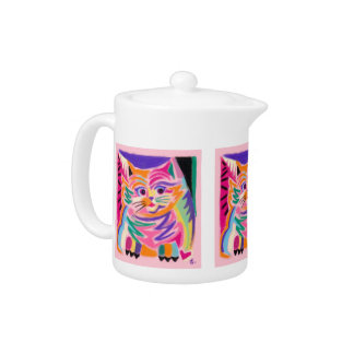 Curious Cheshire Cat 80s Retro Teapot
