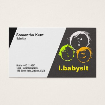 Curious Children Faces Babysitter Business Card