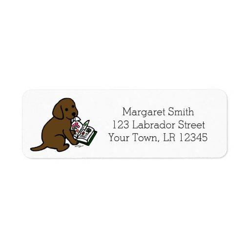 Curious Chocolate Labrador Puppy Address Labels
