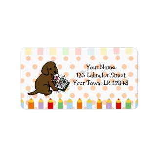 Curious Chocolate Labrador Puppy Label
